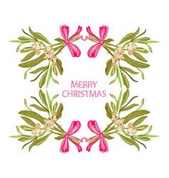 hand drawn mistletoe frame vector image