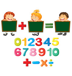 Happy children and numbers vector