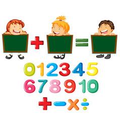 Happy children and numbers vector
