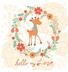 Hello my love card with deer vector image vector image