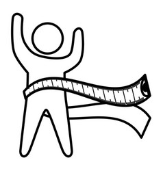 Human silhouette with tape measure vector