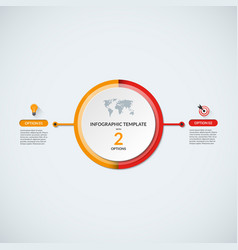 Infographic circle diagram template with 2 options vector image vector image
