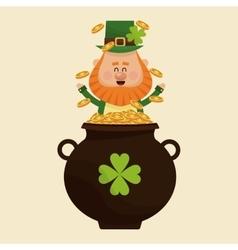 Leprechaun happy tossing gold pot vector