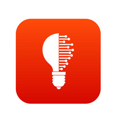 Lightbulb with microcircuit icon digital red vector