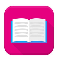 Open book app icon with long shadow vector