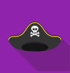 Pirate hat icon in flat style isolated on white vector