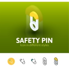 Safety pin icon in different style vector image