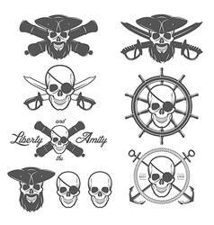 Set of pirate themed design elements vector