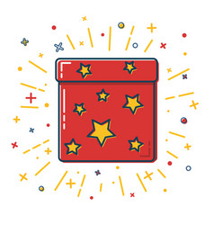 shining gift box icon with stars in flat style vector image vector image