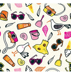 Summer seamless pattern with beach things on the vector