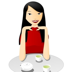 Tea with asian girl vector image vector image