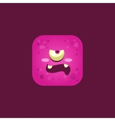 Unpleased Pink Monster Emoji Icon vector image