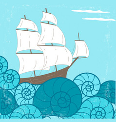 Vitage poster with ship and waves vector