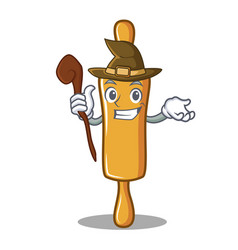 Witch rolling pin character cartoon vector