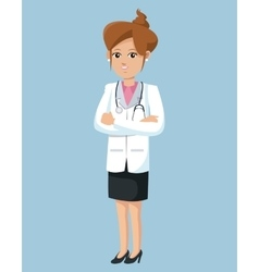 Woman doctor crossed arms hair tied vector