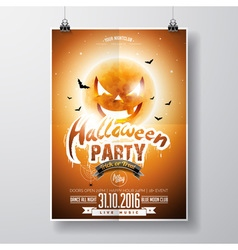 Halloween party flyer design with pumpkin moon vector