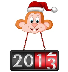 Monkey Hanging 2013 Countdown Tag vector image