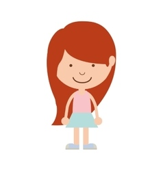 Silhouette girl redhead with skirt vector