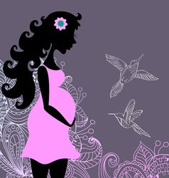 Silhouette of pregnant woman with floral ornament vector