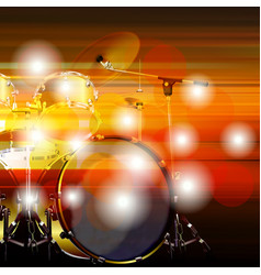 Abstract grunge background with drum kit vector