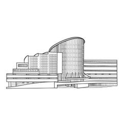 City building sketch isolated urban house facade vector