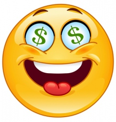dollar emoticon vector image