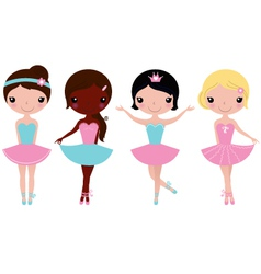 Cute beautiful ballerina girls isolate on white vector