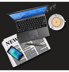 Laptop and mobile phone with newspaper and latte vector