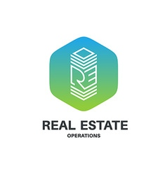 Real estate abbreviation monogram logo Skyscraper vector image