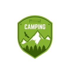 Camping label vintage mountain winter camp vector
