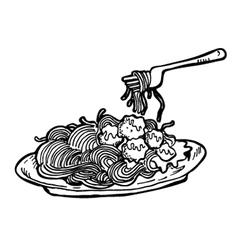 spaghetti doodle vector image