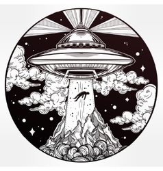 Alien spaceship abduction ufo art vector