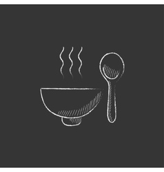 Bowl of hot soup with spoon drawn in chalk icon vector