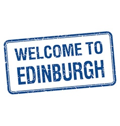 Welcome to edinburgh blue grunge square stamp vector