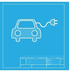 Eco electric car sign white section of icon on vector