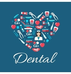 Dental treatments flat icons in a shape of heart vector