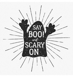Halloween typography label template vector
