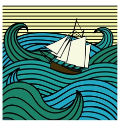 abstract ship at sea vector image vector image