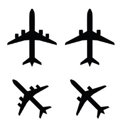 Airplane in black color set vector