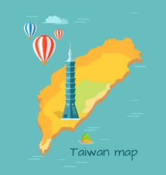 Cartoon taiwan map with taipei tower vector