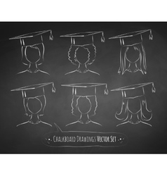 Chalkboard drawings of students vector