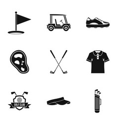 Championship golf icons set simple style vector