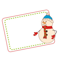 color christmas card with snowman vector image