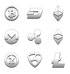 Cryptocurrency trendy 3d style icon vector