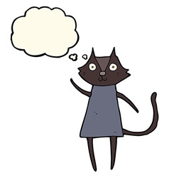 Cute cartoon black cat waving with thought bubble vector