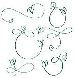 designer calligraphic elements green leaf icons vector image