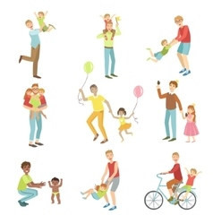 Fathers playing with kids set of vector