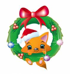 fox in a christmas wreath vector image vector image