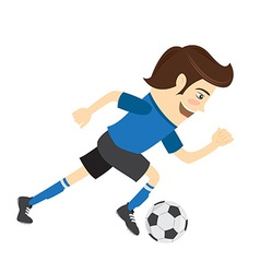 Funny soccer football player wearing blue t-shirt vector image vector image