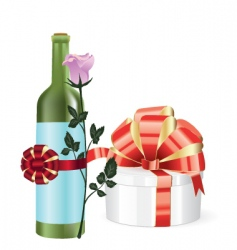 gift and bottle vector image